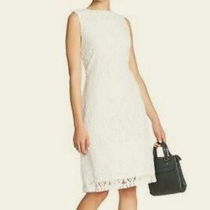 Sharagano White Lace Sleeveless Dress